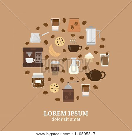 Different flat coffee icons composed in circle shape.