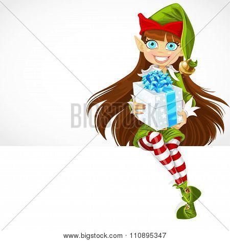 Cute Girl The New Year's Elf Give A Gift And Sit On White Banner