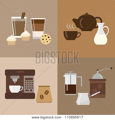 Different flat coffee icons.