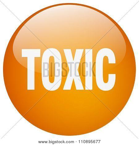 Toxic Orange Round Gel Isolated Push Button