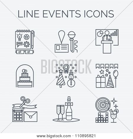 Thin line icons of events and special occasions organization.