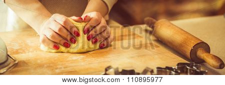Kneading Dough On Pastry Board