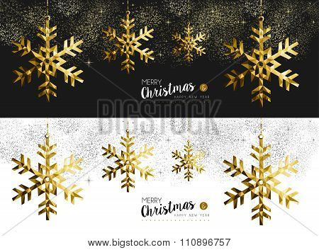 Merry Christmas New Year Social Media Banner Gold