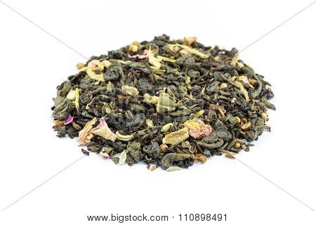 Heap Of Biological Loose Flower Power Tea On White