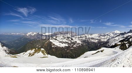 Peaks in snow and glacier of Mont Blanc Chamonix