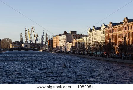 ST. PETERSBURG, RUSSIA - DECEMBER 8, 2015: Photo of Fontanka River and the Admiralty Shipyards.