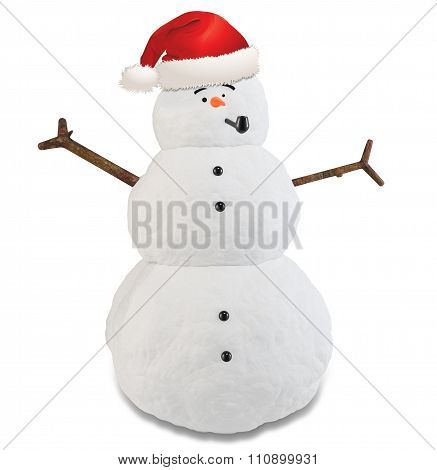 3D Snowman With Hat And Pipe