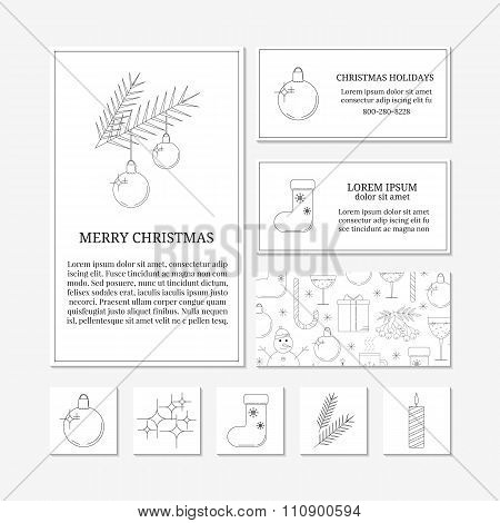 White card templates with linear Christmas icons.