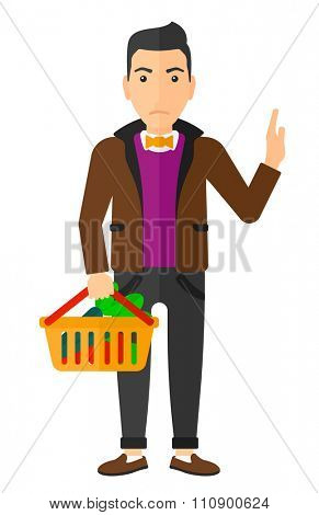 A man holding a supermarket basket full of healthy food and refusing junk food vector flat design illustration isolated on white background. Vertical layout.