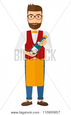 A waiter holding a bottle of wine vector flat design illustration isolated on white background. Vertical layout.