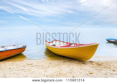 Rowboats on the beach