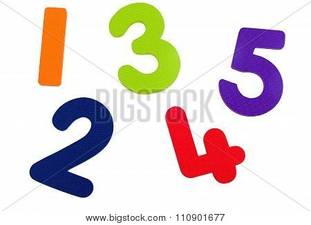 Textured Numbers One To Five