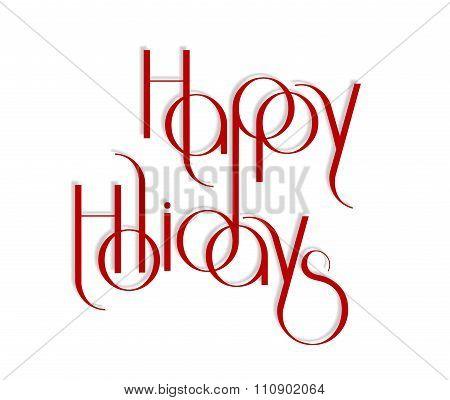 Merry Christmas interlaced lettering vector illustration