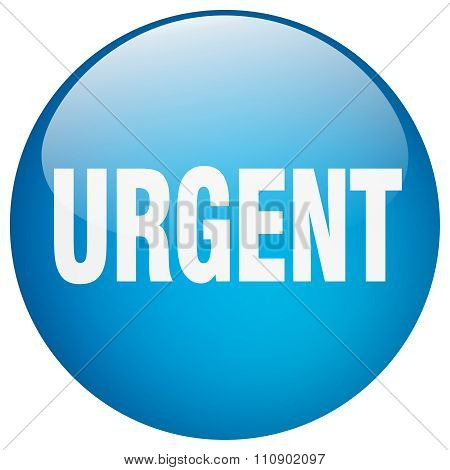 Urgent Blue Round Gel Isolated Push Button