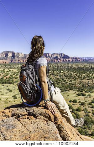 Woman Resting During Hike