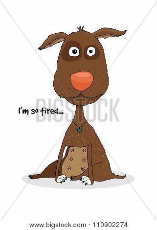 Sad brown hand-drawn dog