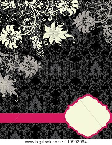 Vintage invitation card with ornate elegant abstract floral design, white and gray flowers on gray and black background with fuschia pink ribbon. Vector illustration.