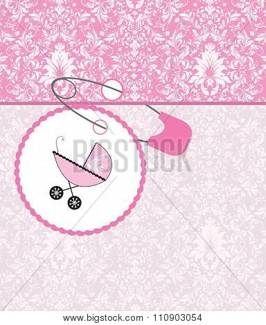Vintage baby shower invitation card with ornate elegant retro abstract floral design, pink with baby carriage on cake and safety pin. Vector illustration.