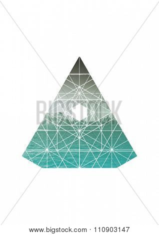 Scenic View of Lake with Turquoise Water and Distant Mountain Range in Triangular Pentagon Border with Geometric Overlay on White Background with Copy Space