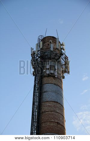 Radio location system on the top of smokestack