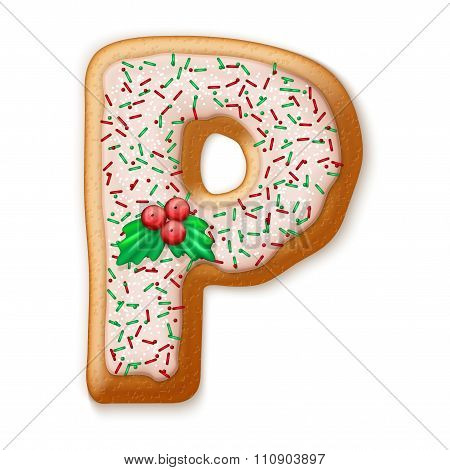 Christmas gingerbread cookies alphabet. Vector illustration.
