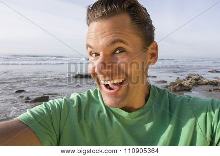 Crazy Happy Selfie Pic At Beach