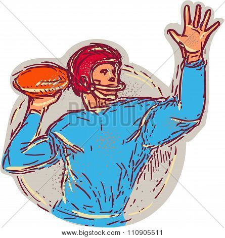 American Football Quarterback Throwing Ball Drawing