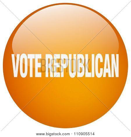 Vote Republican Orange Round Gel Isolated Push Button