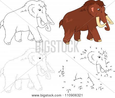 Cartoon Mammoth. Vector Illustration. Dot To Dot Game For Kids