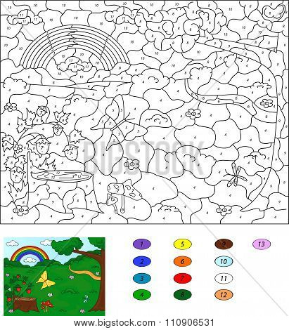 Color By Number Educational Game For Kids. Forest Glade With A Stub, Strawberries, Butterfly, Trees,