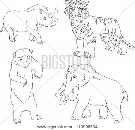 Set Of Mammoth, Prehistoric Bear, Saber-toothed Tiger And Rhino. Coloring Book For Kids