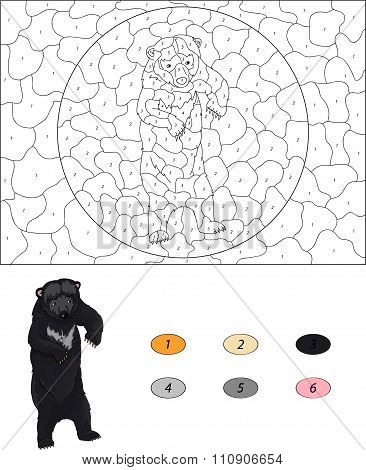 Color By Number Educational Game For Kids. Cartoon Asiatic Black Bear. Vector Illustration