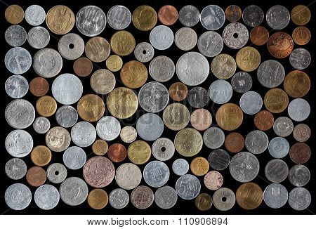 Romanian Coins Collection On Black Background