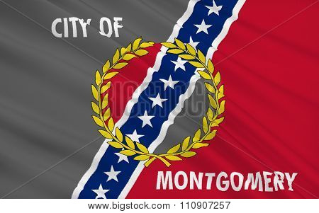 State Flag Of Montgomery - The Capital Of Alabama, Usa.