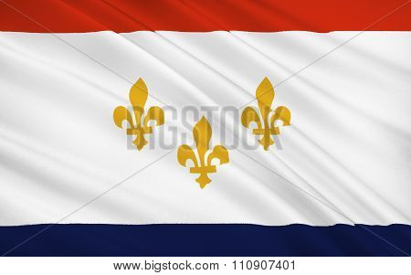 State Flag Of New Orleans - A City Of The United States, The Largest In Louisiana, Near The Confluen