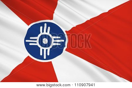 State Flag Of Wichita - A City In The Us, The Largest Locality Of Kansas.