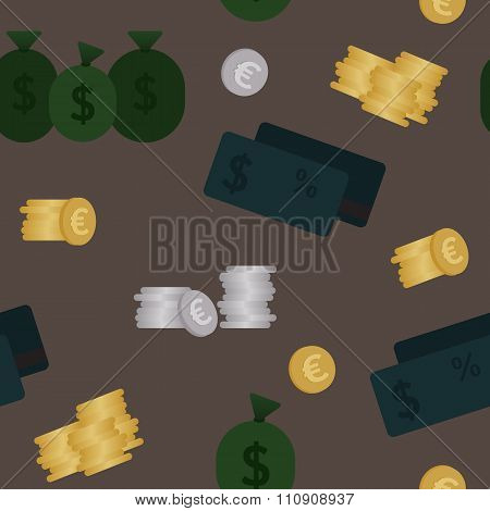 Business and finance seamless pattern. Background for business in dark shades.