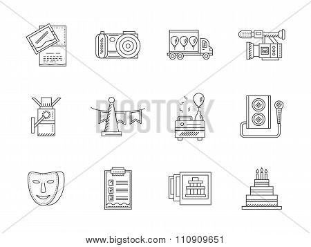 Black flat line party icons vector collection