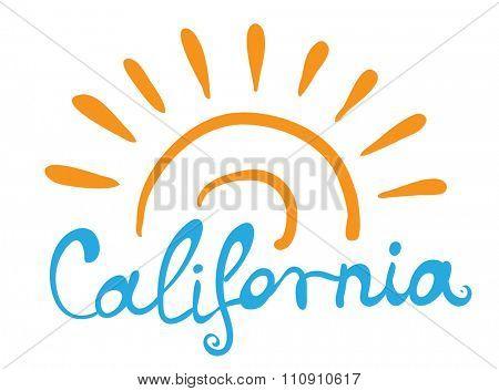 Hand-written word CALIFORNIA, lettering logo illustration