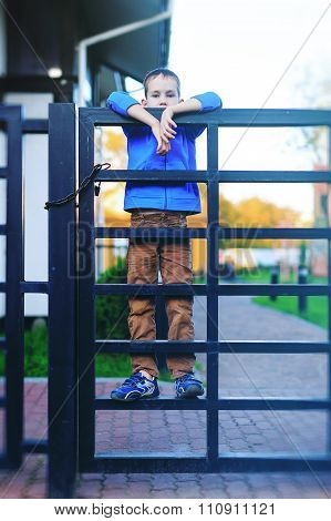 boy looking over the fence