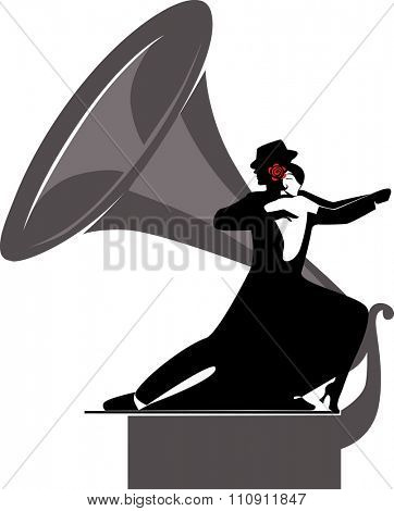 silhouette couple dancing tango and gramophone