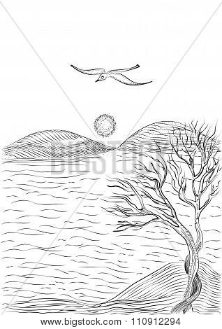 Landscape With Tree On A Hilly Sea Shore And Flying Seagull.