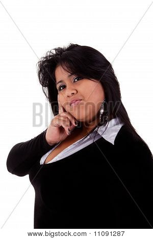 Large  Latin Woman, Isolated On  White Studio Shot