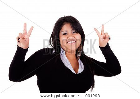 Happy Large  Latin Woman, With Thumbs Raised As A Sign Of Victory, Isolated On White Background. Stu