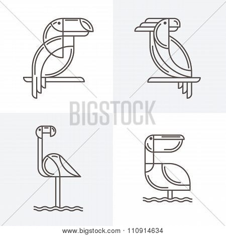 Set Of Vector Line Art Logo With Exotic Tropical Birds.