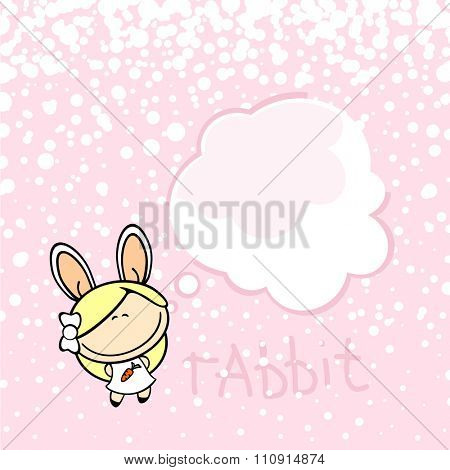 New year greeting card with the Rabbit and thought bubble window for your text (raster version)