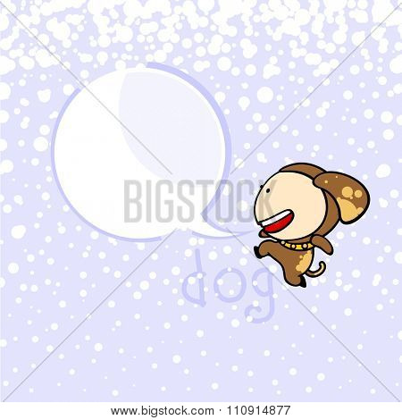 New year greeting card with the Dog and speech bubble window for your text (raster version)