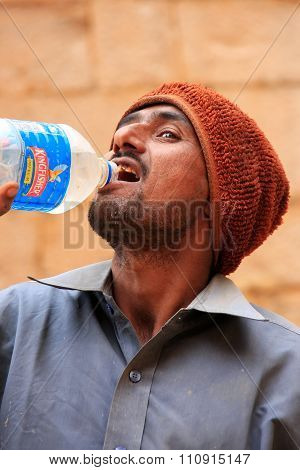 Jaisalmer, India - February 14: Unidentified Drinks Water On February 14, 2011 In Jaisalmer, India.