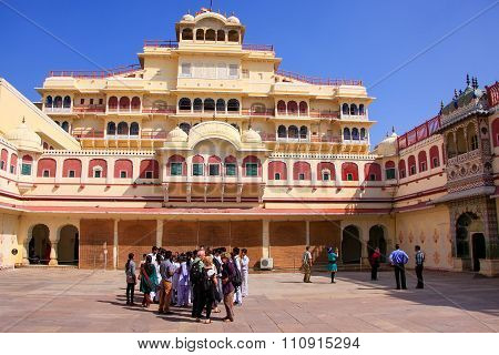 Jaipur, India - February 27: Unidentified People Stand In Chandra Mahal On February 27, 2011 In Jaip