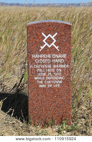 Indian Warrior Marker Stone At Little Bighorn Battlefield National Monument, Montana, Usa
